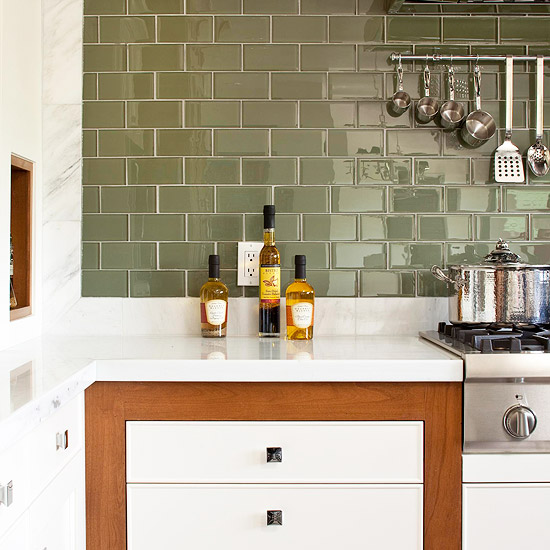 sage green subway tile backsplash bing images