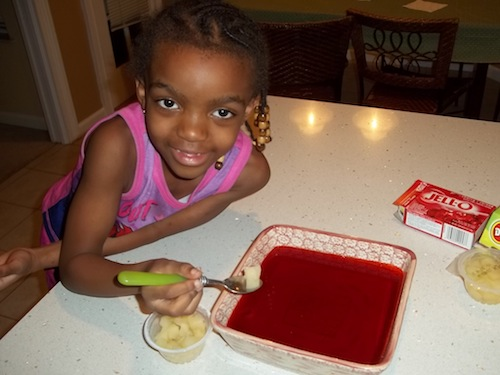 Del Monte fruity and Rellie making jello