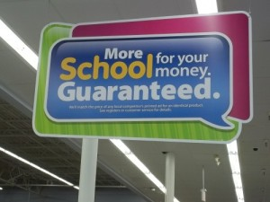 walmart major signage back to school suplies