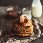 Whole Grain Pumpkin Pancakes with Apple Maple Compote