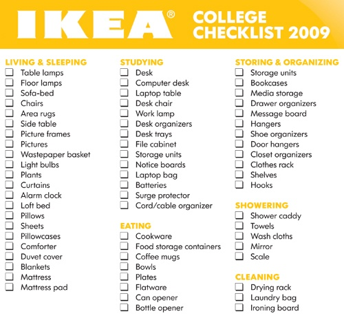 college list essentilas