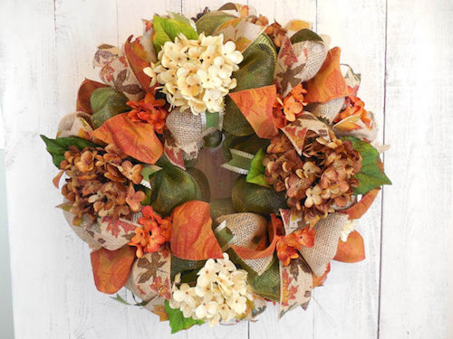 fall mesh and burlap wreath front door