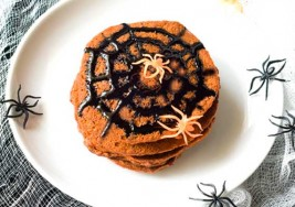 Halloween Pumpkin Pancakes with Spider Web Syrup Recipe