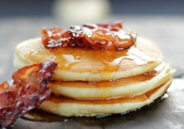 Cinnamon Pancakes with Apple Bacon Crumbles Recipe