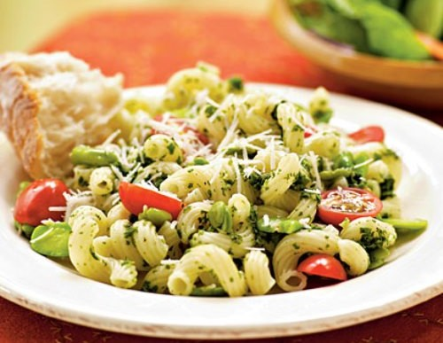 Healthy Meal: Fava Beans with Pesto and Cavatappi Recipe