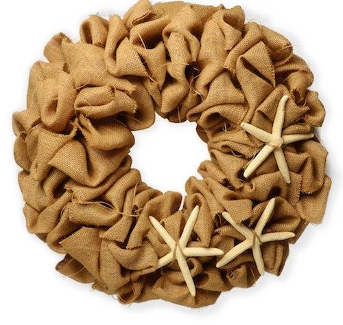 Burlap wreath with starfish