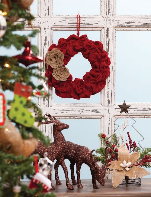 Red Holiday Burlap Wreath
