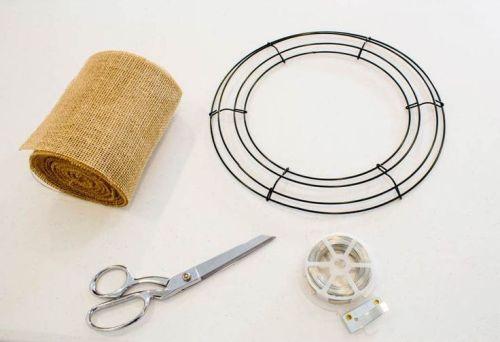 supplies for making a burlap wreath