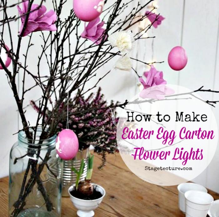 Easter decoration egg carton flower lights
