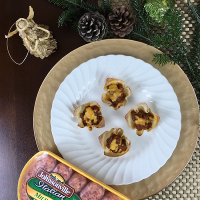Johnsonville Sausage Wonton Holiday Casserole Appetizer