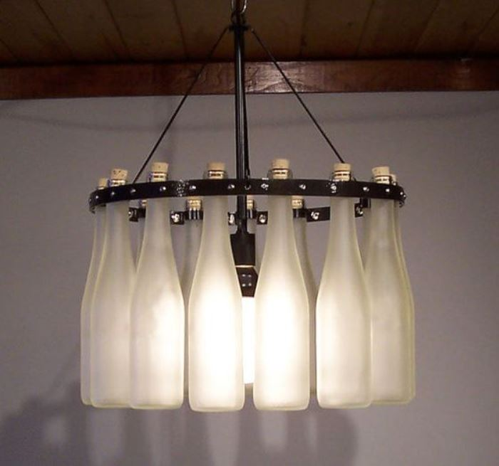 frosted beer bottle chandelier