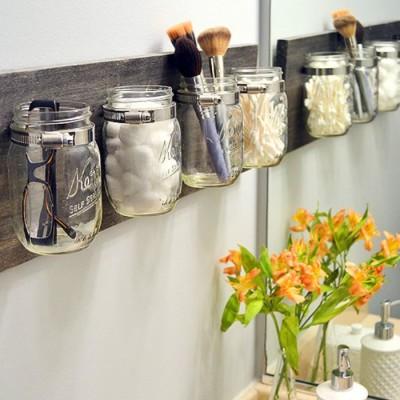DIY Room Decor: How to Make a Mason Jar Bathroom Organizer