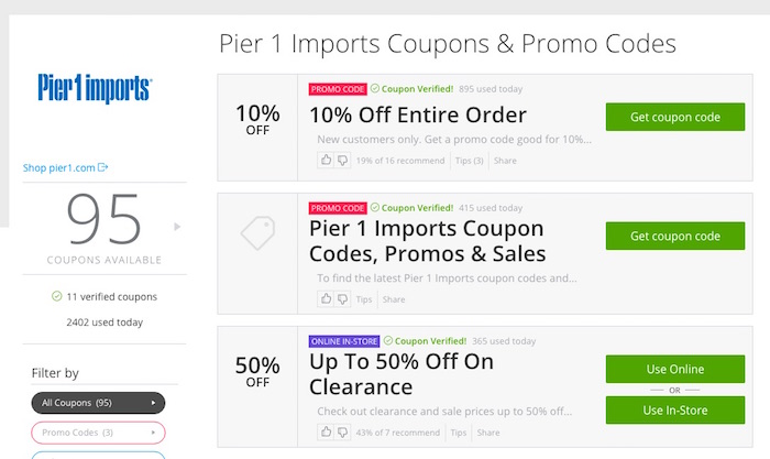 Pier 1 free shipping coupon code