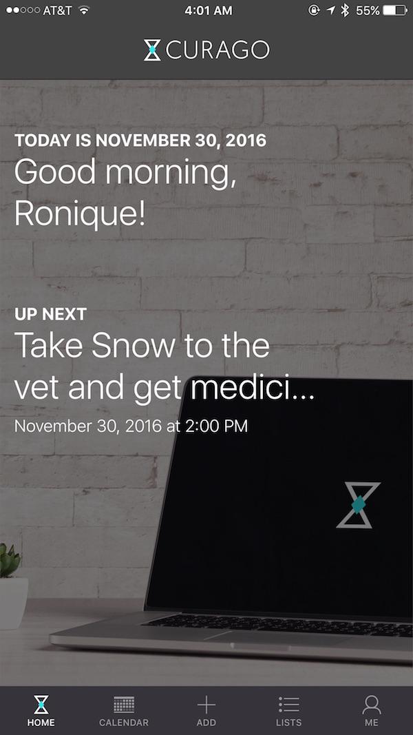 calendar-app-curago-home-screen