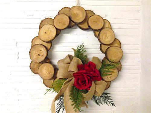 wood slice wreath tutorial