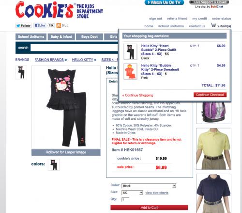 Cookies Kids Girls hello kitty_cart_2 items