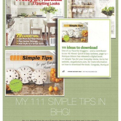 My Simple Tips Ebook Featured in BHG's – Kitchen + Bath Magazine!