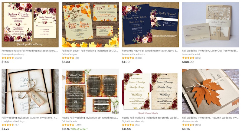 etsy budget wedding fall invitations ideas