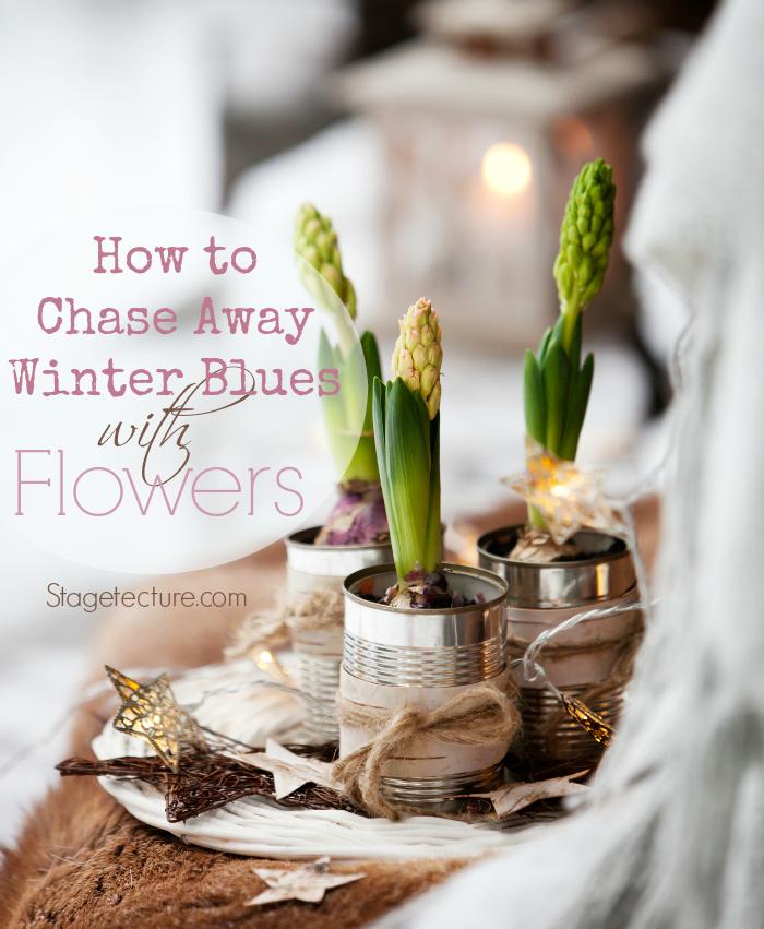 winter blues flower home decor