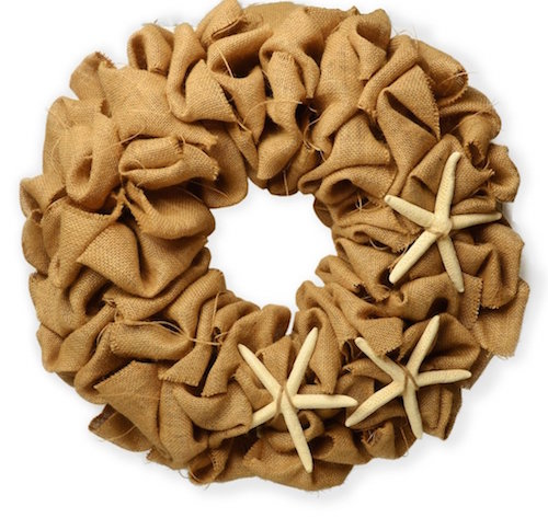 Burlap wreath with starfish