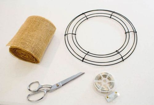 supplies for making a burlap wreath