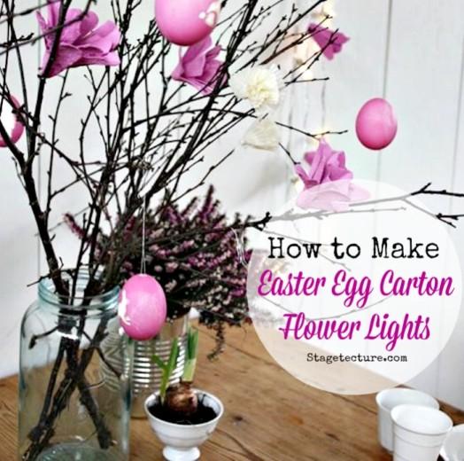Easter Decorations: How to Make Egg Carton Flower Lights