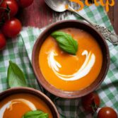 Tomato soup with cream and fresh basil