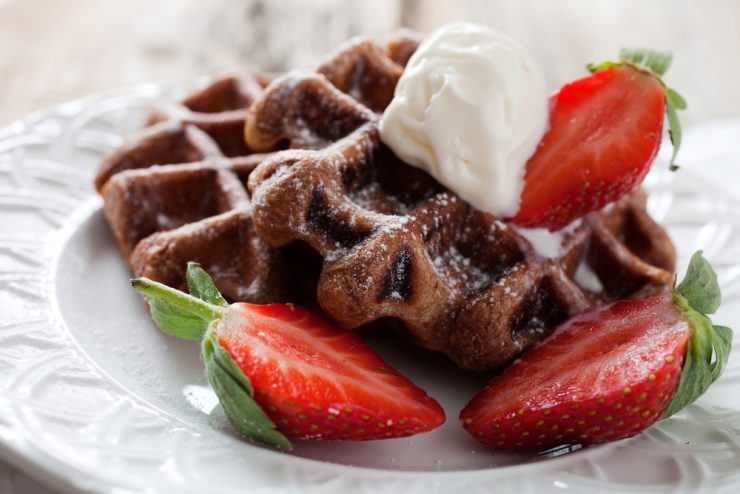 Chocolate Waffles with Strawberries!