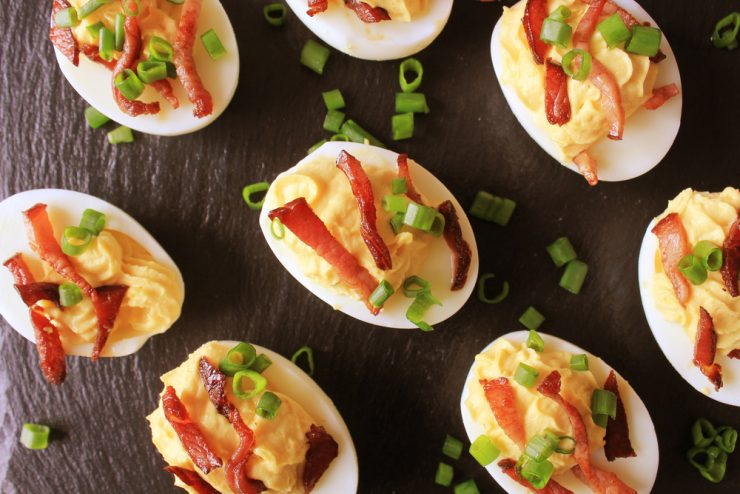 Amazing Deviled Eggs with Cheese and Bacon