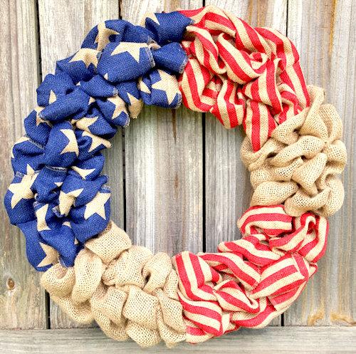 patriotic wreath burlap