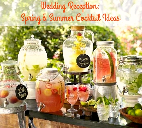 Wedding Reception: Summer Cocktail Ideas. Celebrate your wedding or your summer party with these delicious beverage ideas filled with fruit and more!