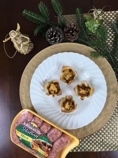 Johnsonville Sausage Wonton Holiday Casserole Appetizer