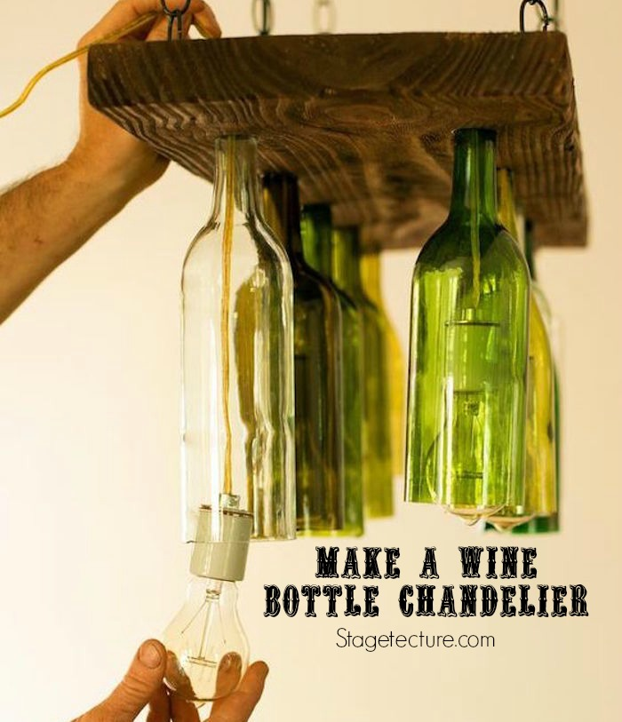 How to make a wine bottle chandelier for How to make a bottle chandelier