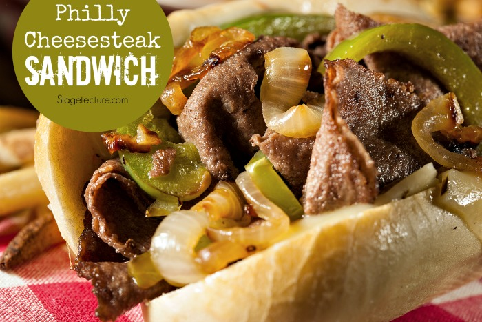 Super bowl appetizer Philly Cheesesteak Sandwich