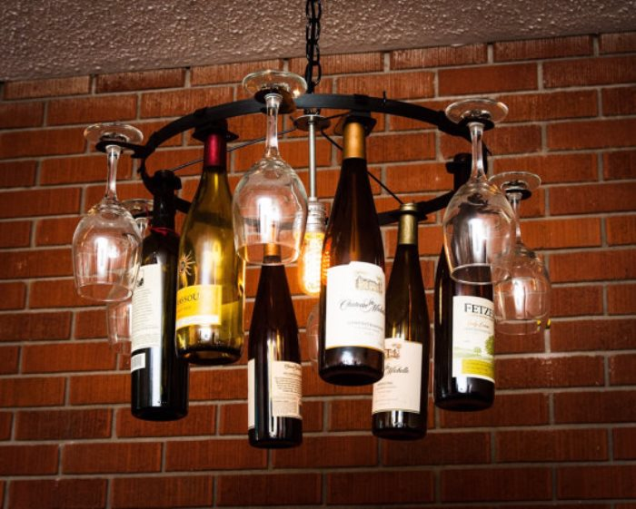 Epic wine glass chandelier