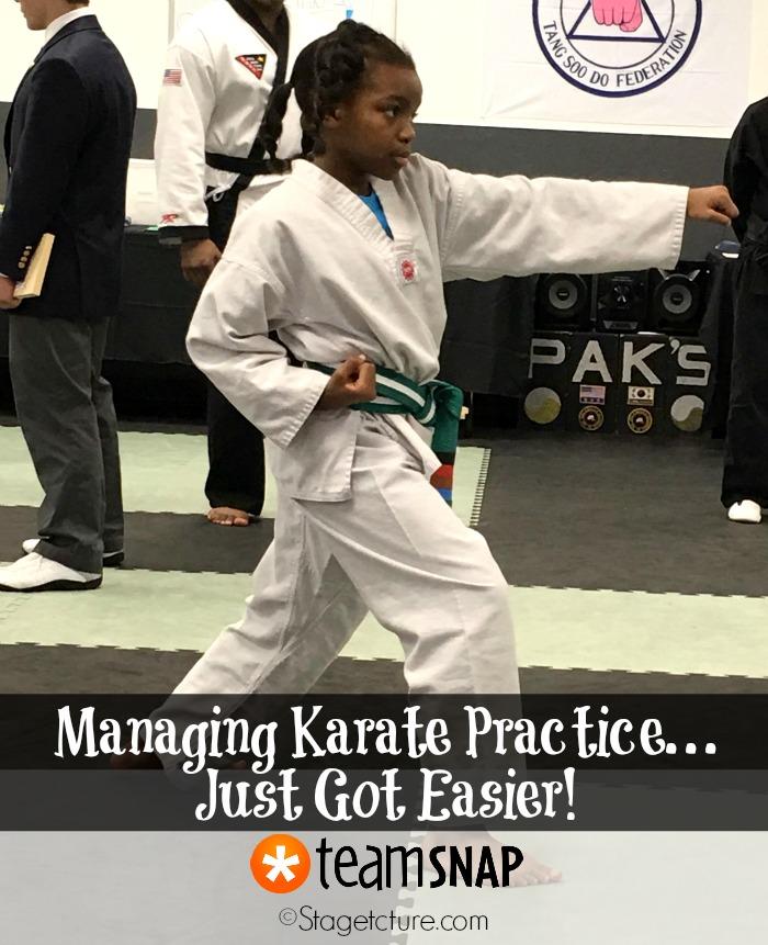 Karate practice TeamSnap app