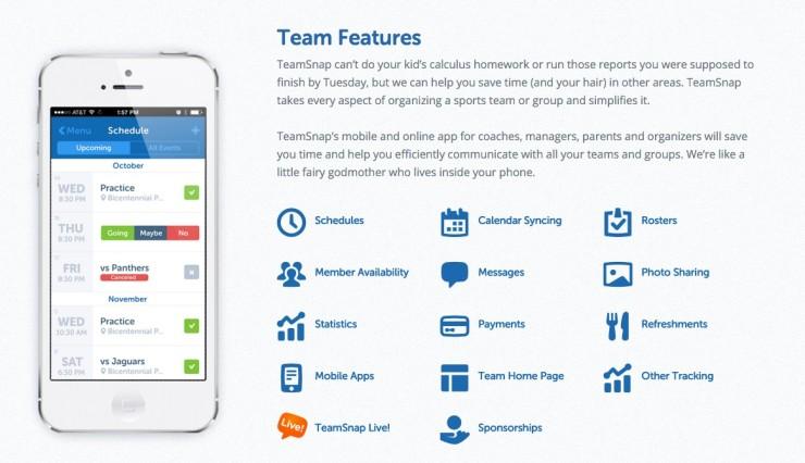 TeamSnap App features app