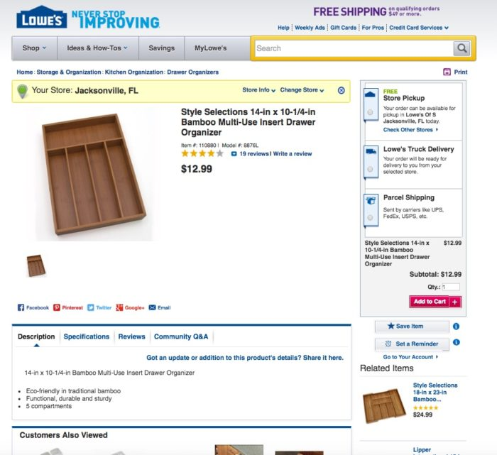 Lowes Giving Assistant Kitchen organizer