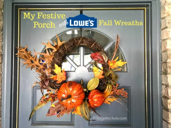 My Festive Porch Fall Decorating with Lowe's Fall Wreaths