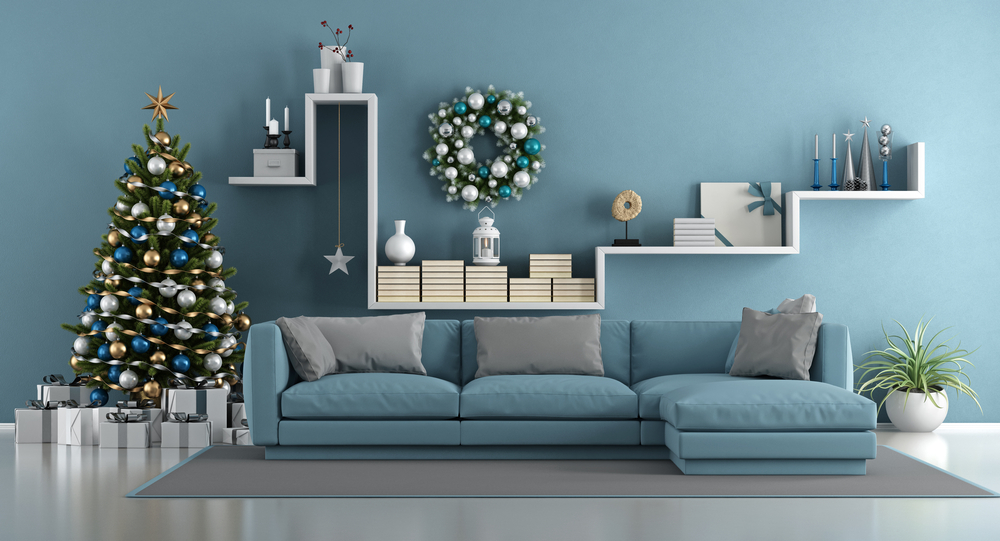 Blue-themed living room christmas decorations.